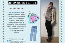 """Toppila Stailaa -Show / Toppila-Center stailaa 29.10. klo 12-16 kierrätysvaatteista asuja syksyyn ja tulevaan talveen. Tule katsomaan minkälaisia asuja Centrin vaatteista syntyy ja nappaa ideoita omaan pukeutumiseen tai osta vaika koko asu itsellesi. Kaikki stailatut kokonaisuudet ovat myynnissä Toppila-Centerissä tapahtuman jälkeen. Mukana stailaamassa blogisti Sinikka, joka pitää kierrätysmuoti- ja tuunausaiheista blogia """"Cause to Wear"""" DIY-blogiyhteisössä. Tutustu: http://diy-showroom.com/causetowear/"""