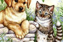 개와 고양이 그림