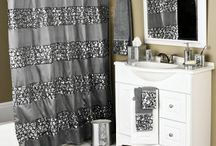Add sequins and bling to your bathroom! / Sequins and Bling make for a beautiful, chic, & brilliant bathroom. Sequined shower curtains and coordinating glass inset bath accessories!  | Sinatra Silver Bling Bath Collection and the Elite Sequined Bronze Bath Collection