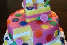 Bright colour birthday cake