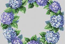 Krížikový steh vence kvety