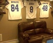 Dallas Cowboys / Dallas Cowboys jerseys displayed using the Ultra Mount jersey display hanger. A great affordable alternative to jersey frames.