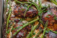 Soy balsamic chicken thighs with asparagus