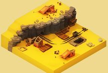 low poly isometric 3D