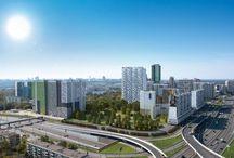 ЖК WELLTON PARK / Архитекторы: «BuroMoscow»/ КРОСТ/Пластическое решение: орнаментика, использование цветных панелей, повторяющаяся нарезка окон