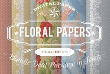 FLORAL PAPERS / DIGITAL PAPERS - FLORAL PAPERS BY DIGITAL PAPER SHOP