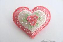hearts of felt