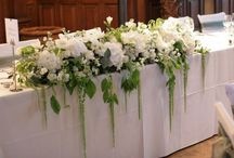 Long table arrangements for wedding party