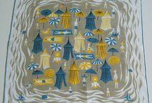 Design | Tammis Keefe & Friends / Tammis Keefe, Pat Pritchard and Carl Tait - vintage illustrated handkerchiefs, tea towels and napkins galore!