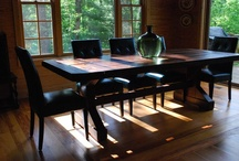 Cabin living / Farm tables are the perfect addition for rustic cabin vibes!