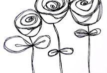 desene flori alb negru