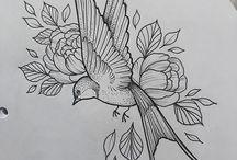 Ласточки и цветы