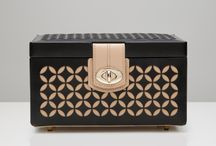 beaudell shop | wolf jewellery boxes / A delicately constructed leather jewelry case, the Chloé accentuates the beauty of leather and pattern combined. Includes cream leather, mirror, gold finished hardware, LusterLocTM anti-tarnish lining, 3 ring rolls and 6 storage compartments.