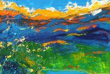 Acrylbilder Landschaften / Die Bilder sind mit Sand und Acrylfarben auf Leinwand gemalt.