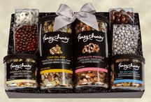 """Funky Chunky Gourmet Popcorn & Pretzel Corporate Gift Ideas / Struggling to find that perfect gift to say """"thank you"""" or to show your appreciation? Give the gift of #funkychunky gourmet popcorn or gourmet pretzels hand layered with chocolate, caramel and other flavors. All packaged with a bow and your message."""