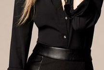 falda negra con cuero en cintura