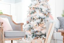 Rose gold blush pink white christmas tree