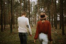 boho forest engagement photos