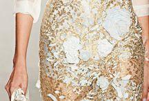 Gold & White Lace Skirt / Clothing