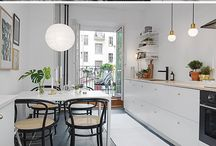 White Floors / Interior inspirations with the wooden floor painted white