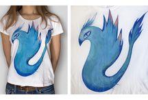 moje t-shirty / własnoręcznie malowane koszulki farbami do tkanin