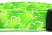 St. Patrick's Day Collars / Fun shamrock and clover dog and cat collars, with some Celtic designs thrown in.