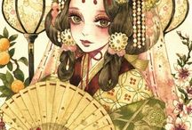 japanese traditional girl draw