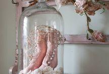 Klassiek Old Victorian pink/white/rose / old victorian style - etalage eindwerkstuk