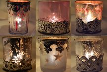 GLASS CANDLE VOTIVE WITH METAL FITTING