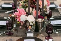 j+l {aubergine} / This table will focus on tones of the violet hue using Pantone's 2017 secondary colors of aubergine, winter bloom, plum wine, woodrose, and sphinx. Clean lines, bold fonts, delicate fabrics, and wild, garden-influenced arrangements will come together to reveal modern romance.