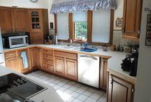 Gahanna Kitchen Makeover / Kitchen Kraft remodeled this outdated kitchen with Granite countertops, a Tavertine backsplash and a double sink with a moen faucet.