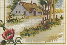Ponto cruz: paisagens e casas