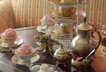 Afternoon Tea / Elegant place settings with tea and scones