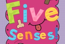 The five senses / Touch, taste, smell, hear, see.