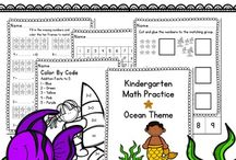 Primary Activities | Math Skills / A board complied of activities geared towards the primary grade levels, including skills such as number sense, counting, money, time, addition, subtraction, and word problems.