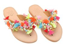 "Leather Handmade Ethnic Sandals / Flip Flops ""Art 5"" col. Natural / Multi"
