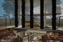Hotel lobby - Interior Design / Progettazione della Hall di un albergo inserito in un contesto collinare e rurale. Modellazione 3D, Render, Illustrazioni