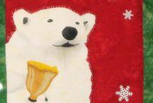 Polar Bells / Polar Bells - Original art work by Will Bullas. Quilt by Nan Baker of Purrfect Spots featured as a BOM in The Quilt Pattern Magazine - Feb/Nov 2013 www.quiltpatternm...