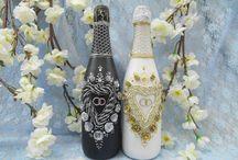 """Свадебные бутылки / Свадебное шампанское, богато украшенное или декорированное вручную ,не просто дань моде, а продолжение Вашего счастливого праздника """"На годовщину"""" и""""Рождение первенца"""". Изысканный декор бутылки шампанского или вина станет оригинальным подарком для гостей торжества, для тех, кто отмечает годовщину или юбилей свадьбы.По Вашему желанию персонифицируем бутылки и выполним надписи."""