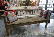 Vintage benches / Car parts recycled wood
