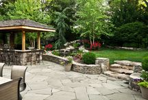 Rear Yard - Waterfeature, patio, bar/grill area / Designed and built by Rossen Landscape.