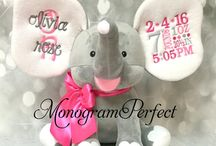 New Personalized Birth Announcement & Bible Verse Stuffed Elephants / Our NEW birth announcement elephants are simply A.D.O.R.A.B.L.E! They feature soft fabric, large sturdy ears and constructed so your elephants will sit straight and tall....perfect for photo shoots