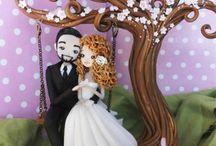 Cake topper per matrimonio / Statuine cake topper per torte nuziali e matrimoni.