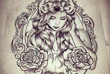 woman face tattoo