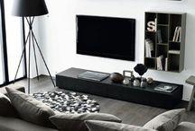 Salon gris noir blanc