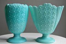 Turquose Milk Glass  Fenton