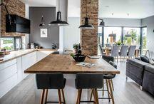 Kitchen wood and bricks