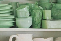 green.blue / depression glass, jadeite, pyrex, vintage glassware, china, bottles  / by Judi Jackson