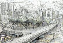 Macau. Macao. Urban sketch