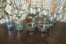 Glassware Collection / Hand blown margarita glass or salsa set for Mexican fiesta!